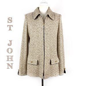 St John Collection Tan Santana Knit Blazer 10